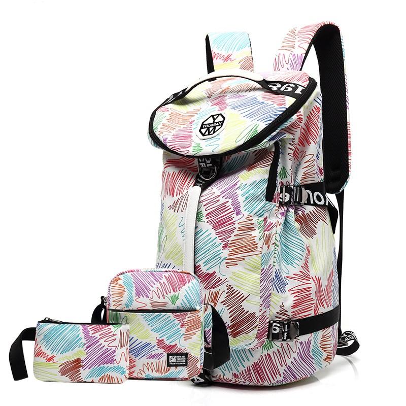 大容量旅行背包女双肩包运动初中学生书包帆布登山包轻便旅游包男