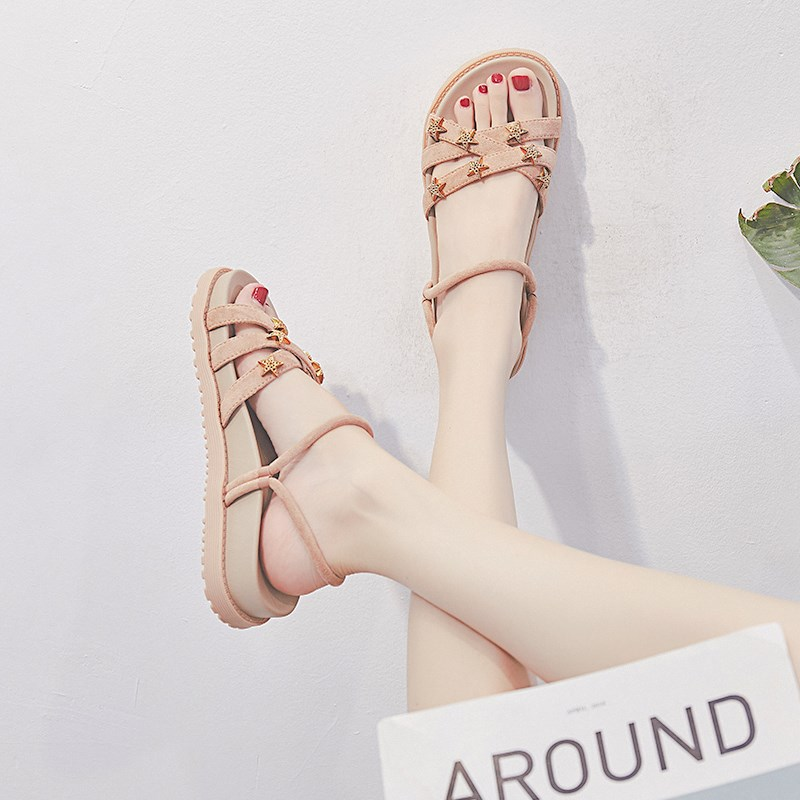 Summer 2020 new Hong Kong Style European and American sandals fairyland flat bottomed students