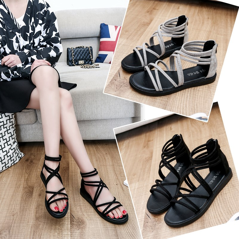 Summer zipper sandals female student 2020 new Korean womens shoes simple and versatile, thin ribbon flat bottomed Roman shoes fashion