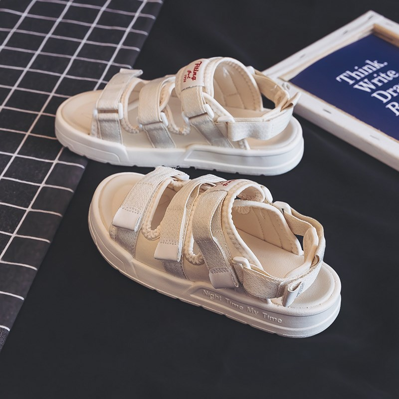 Sandals womens 2019 summer new ins fashion all kinds of fairy wind net red summer womens shoes student flat bottomed beach shoes