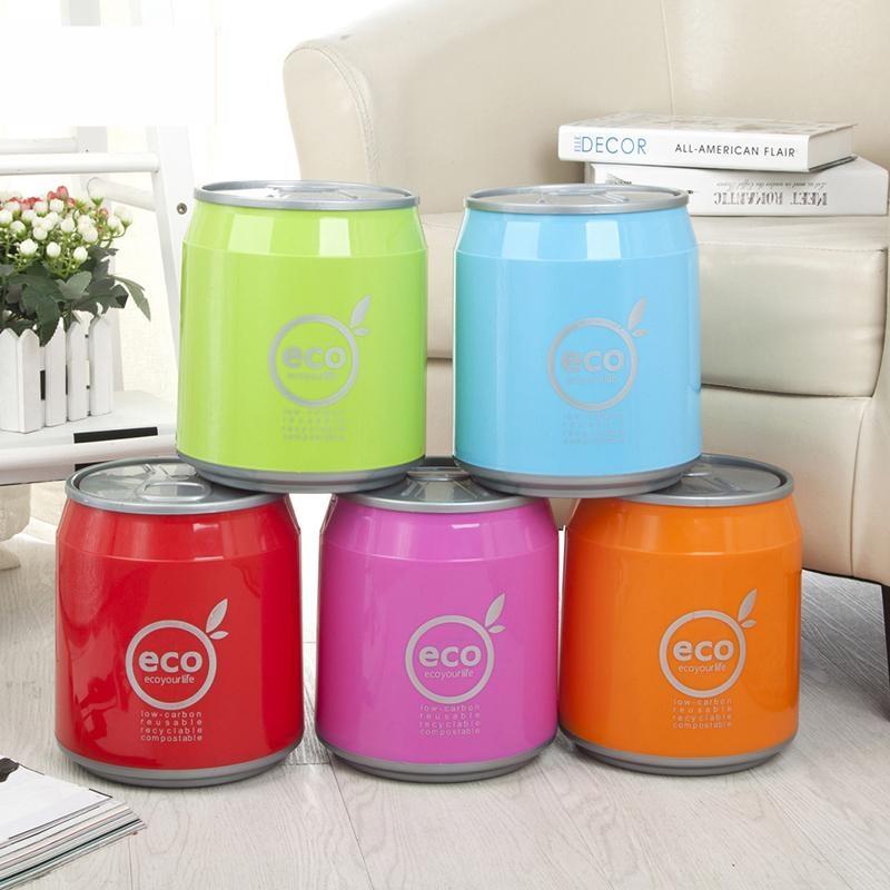 带盖易拉罐创意垃圾桶时尚可乐大号环保宿舍饮料塑料房间静音迷你
