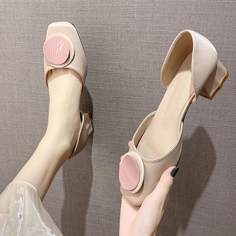 粗跟中空凉鞋女2019夏季新款韩版一脚蹬豆豆鞋百搭单鞋网红仙女鞋