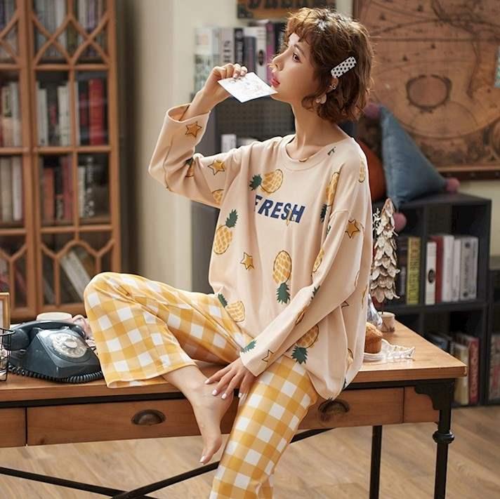 水中花春秋季睡衣女士长袖纯棉秋春清新套装韩版公主风可外穿家居