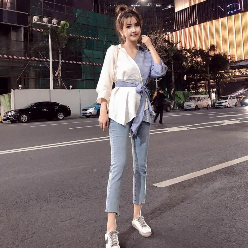 2019初秋新款两件套微胖妹妹牛仔裤+上衣套装洋气显瘦大码女装潮需要用券