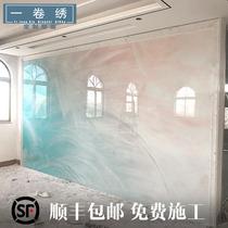 现代新中式电视背景墙壁纸墙布禅意水墨山水壁画客厅影视墙沙发