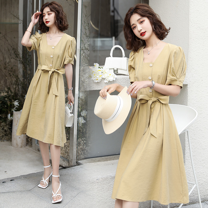 2020 summer fashion round neck elegant and all-around solid color suit dress