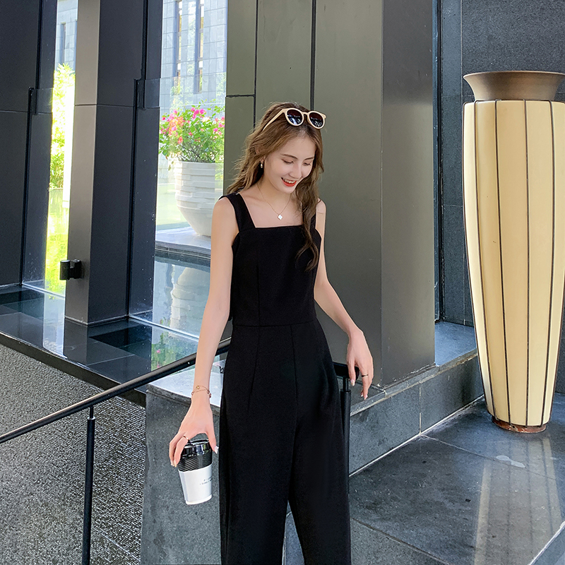 2020 one piece pants womens summer wide leg pants suit shows thin and loose temperament high waist Fashion Black Belt one-piece pants