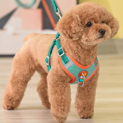 背心式狗狗牵引绳小型犬泰迪比熊博美胸背带小狗幼犬遛狗绳狗链子
