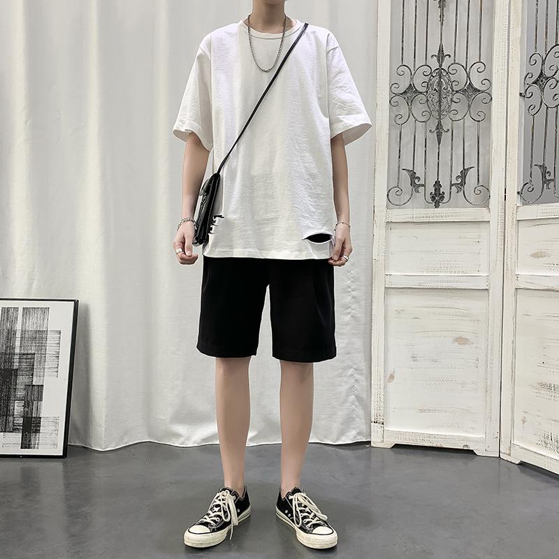 男生套装帅气夏季韩版潮流男装一套搭配破洞短袖t恤宽松潮牌半袖