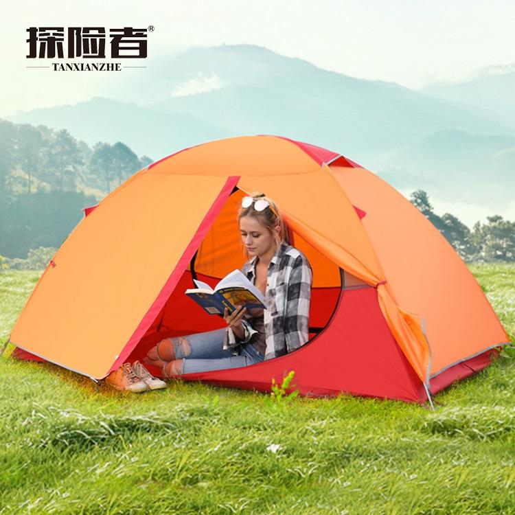探险者单双人户外2-3人露营加厚双层防暴雨登山手搭铝杆野营帐篷