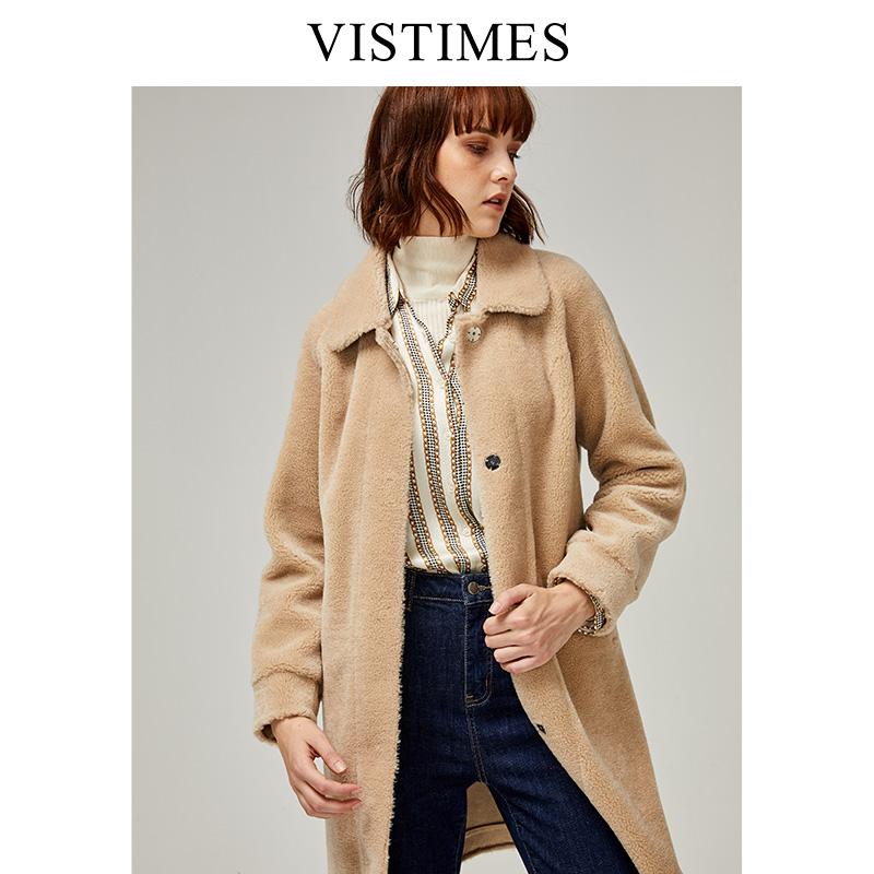 秋冬新款全羊毛皮毛一体外套女修身显瘦中长款翻领颗粒绒羊剪绒