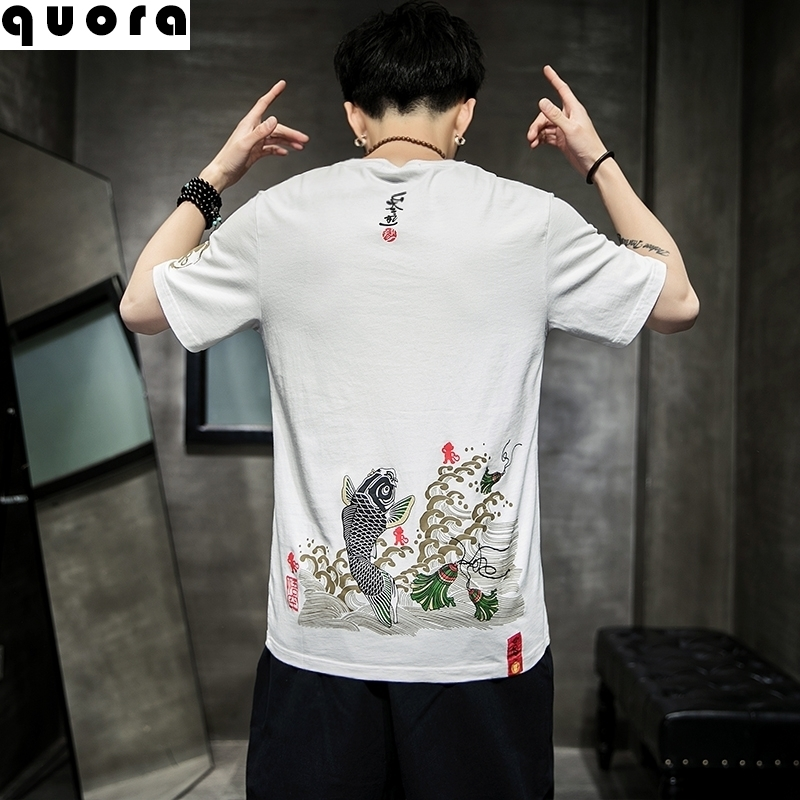 Chinese style national style mens clothing Chinese and Chinese elements summer linen short sleeve T-shirt leisurely big size chubby fashion fat show thin T-shirt