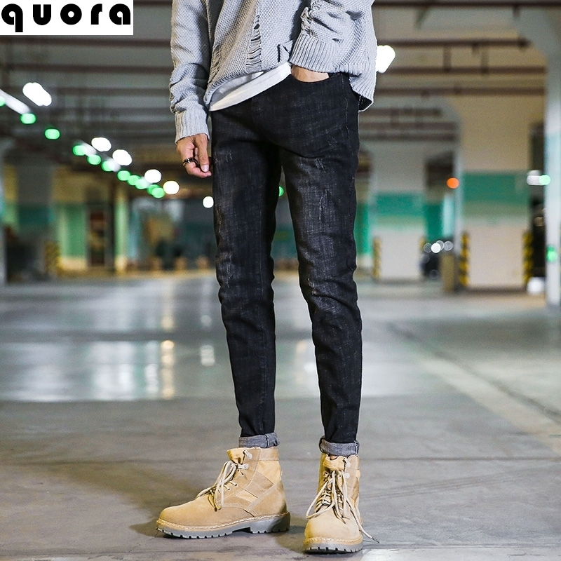 What kind of pants do Martin boots match? Mens handsome motorcycle style, small pants legs, legs show thin jeans niuyouzhai