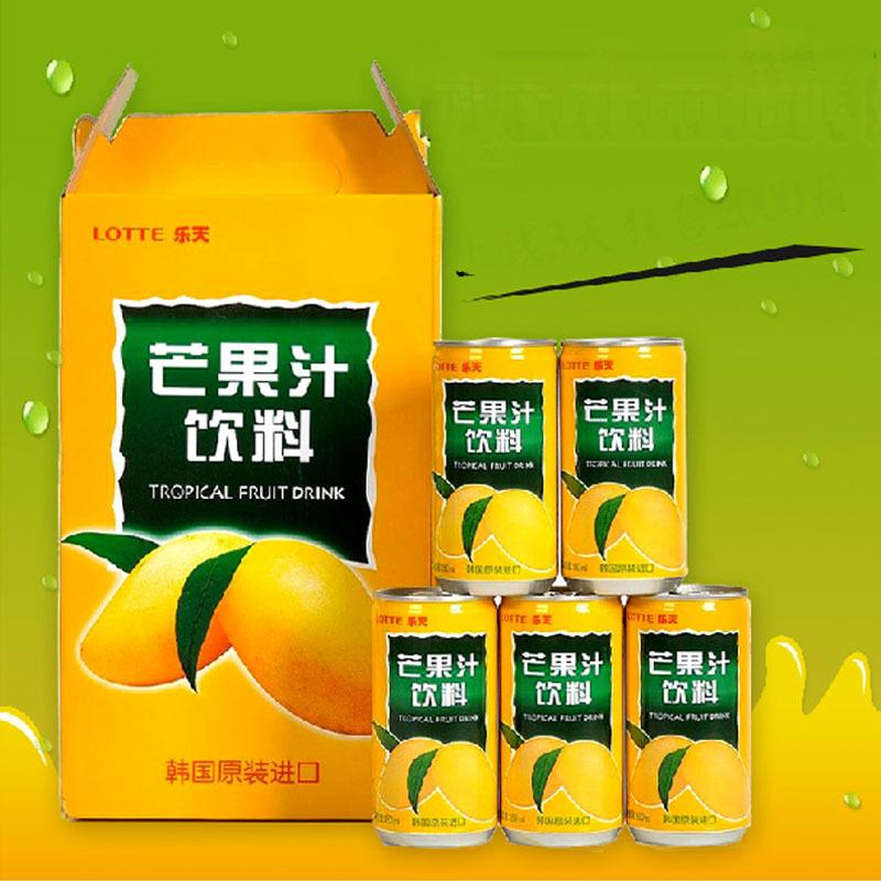 Fresh fruit drink in summer Lotte mango juice drink imported from Korea fruit juice drink 180ml / can