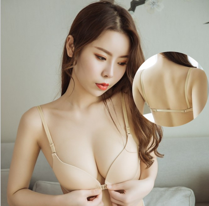 The best-selling thin belt with beautiful back gathers girls and students, small chest thickens, sexy backless white front button underwear, womens thin style