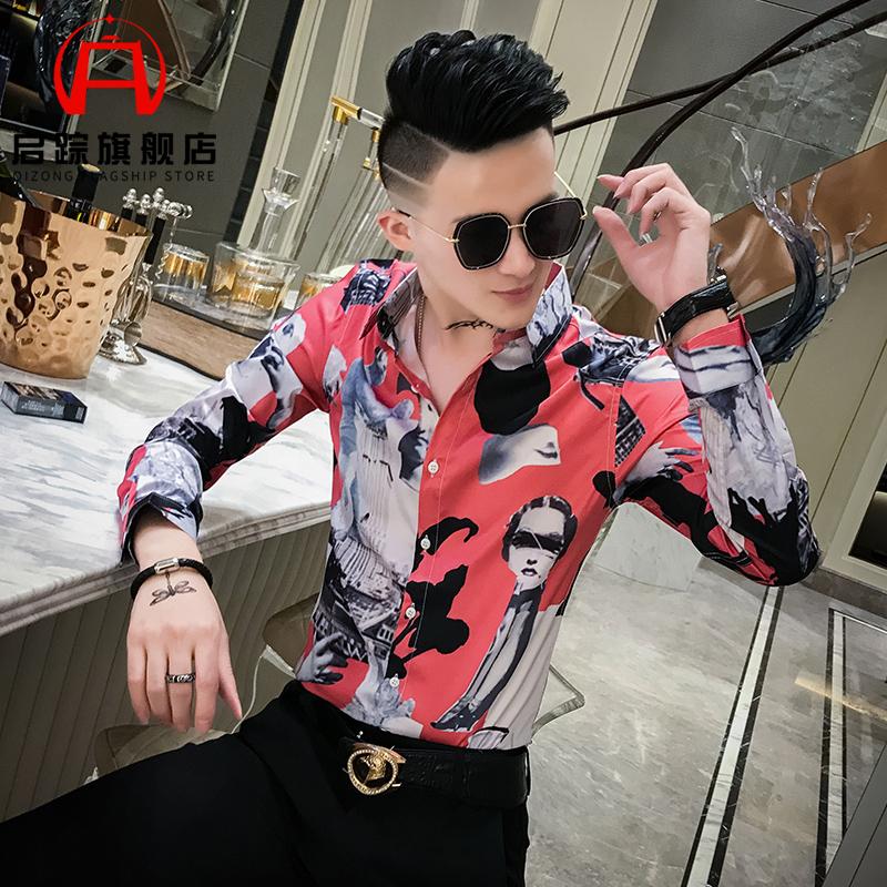 网红帅气韩版潮流个姓男士花衬衫修身社会小伙男模痞帅发型师服装