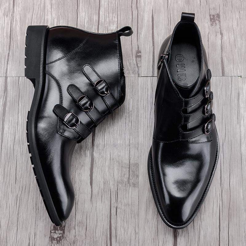 High end brand leather high top mens shoes British buckle ChElSEY boots pointed mens boots hair stylist mens shoes