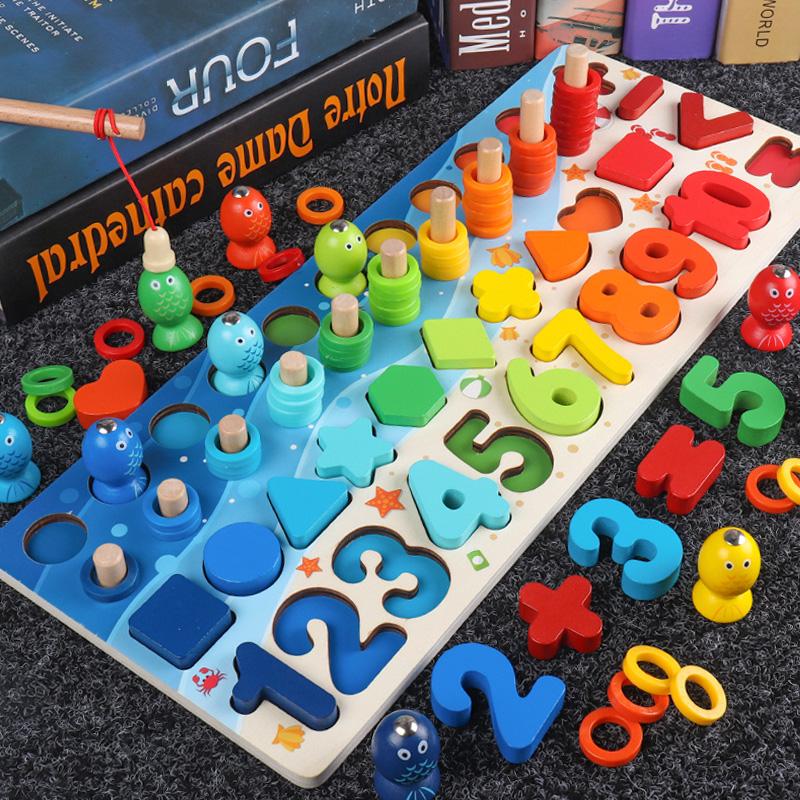 幼儿童玩具数字拼图积木早教益智力开发婴儿1-2岁半3男女孩4宝宝