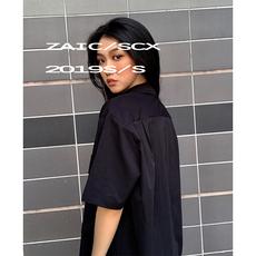SCX 复古港味短袖衬衫女简约宽松设计感小众2019夏中长款工装上衣