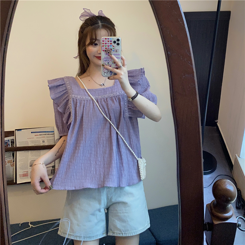 New fresh fairy design in summer 2020 square neck lace pleated open back chiffon shirt with lotus leaf edge