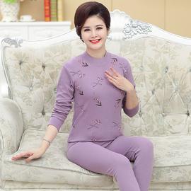 俞兆林妈妈保暖内衣套装女士纯棉中老年人棉毛衫薄款秋衣秋裤大码图片