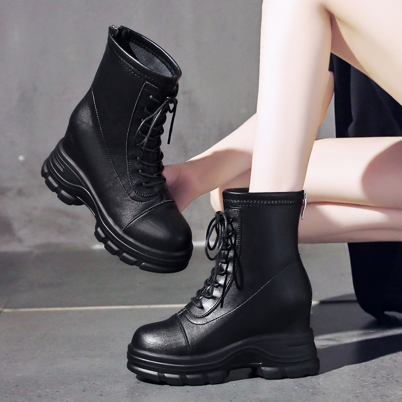 2020 autumn new style 8cm increase Martin boots, womens high heels show thin short boots, childrens versatile thick bottom short boots
