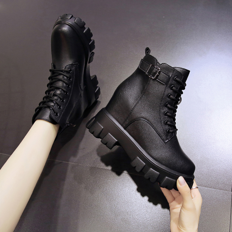 Autumn 2020 new 10 cm increased thick soled Martin boots womens versatile high heel short boots