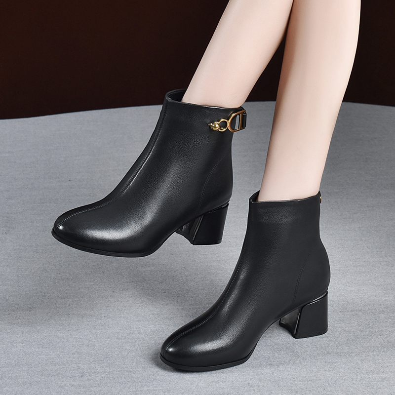 2020 new spring and autumn high heeled cowhide short boots thick heeled leather shoes medium heeled Martin boots single autumn and winter womens shoes