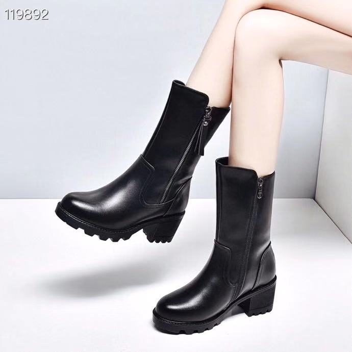 Womens middle boots autumn and winter 2020 new leather wool inner lining thickened warm thick high heel side zipper fashion boots women