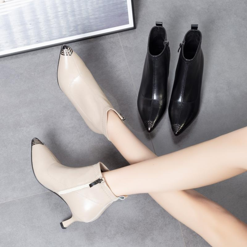 European autumn and winter 2020 foreign style womens shoes pointed thin short boots small heel high heels cat heel short boots temperament naked boots