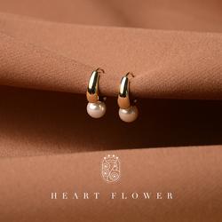 珍珠925纯银女圆圈百搭复古耳扣