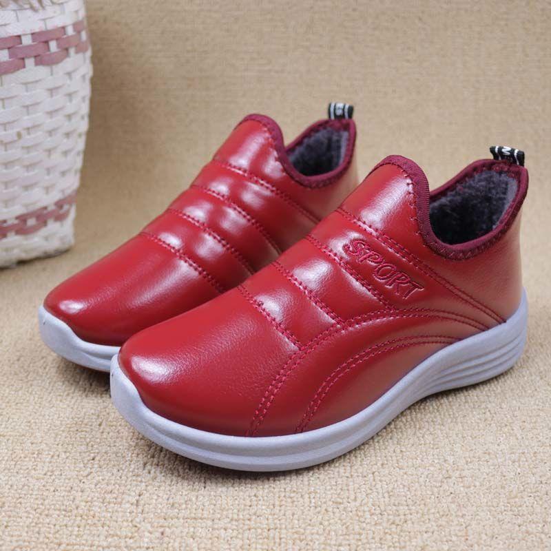 日本冬季棉鞋女皮革妈妈鞋女中老年雪地靴保暖加厚加绒防滑棉靴