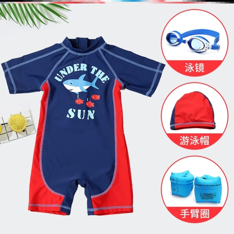 Chinese swimming trunks, swimming cap, swimming mirror suit men and women short sleeve portable cartoon bathing cute children big size children with one body