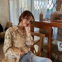秋季单件套装复古法式碎花POLO领叠穿宽松中长款长袖衬衫女两件套