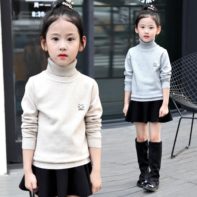 女童高领毛衣韩版2019新款秋季中大童打底加绒加厚儿童套头针织衫