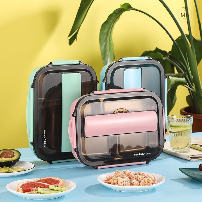 餐具一人食不锈钢外出便携餐盒保温饭盒学生旅行学校食堂带盖分格