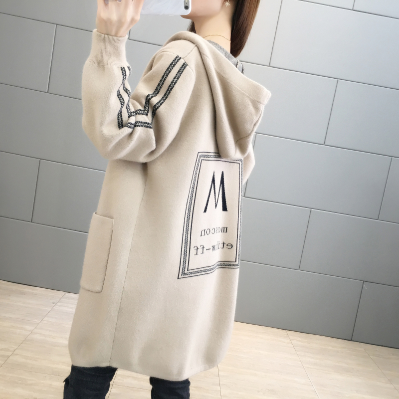 Loose hooded with foreign style knitwear 2019 new loose mid long autumn winter sweater outerwear womens cardigan trend