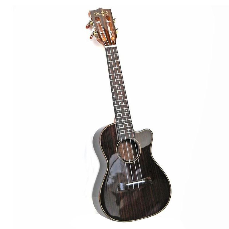 黑色琴头23寸古典亮光吉他木尤克里里缺角玫瑰成人款初学者小女生