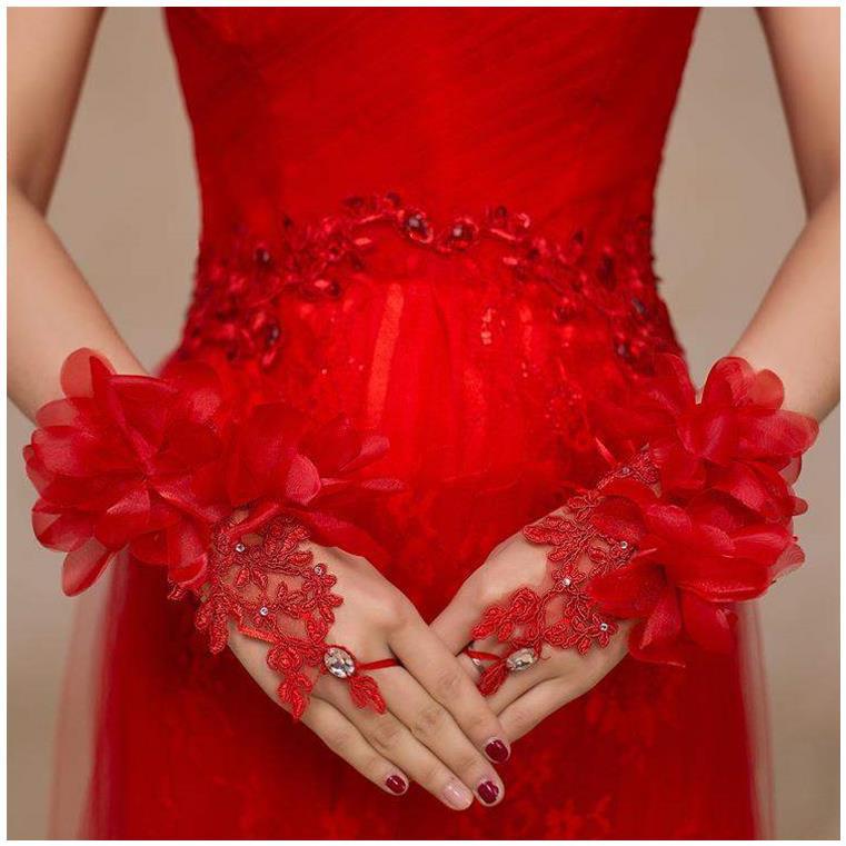 婚纱袖套冬季新娘手套加绒晚礼服厚保暖长袖袖子遮手臂缎面手袖纱