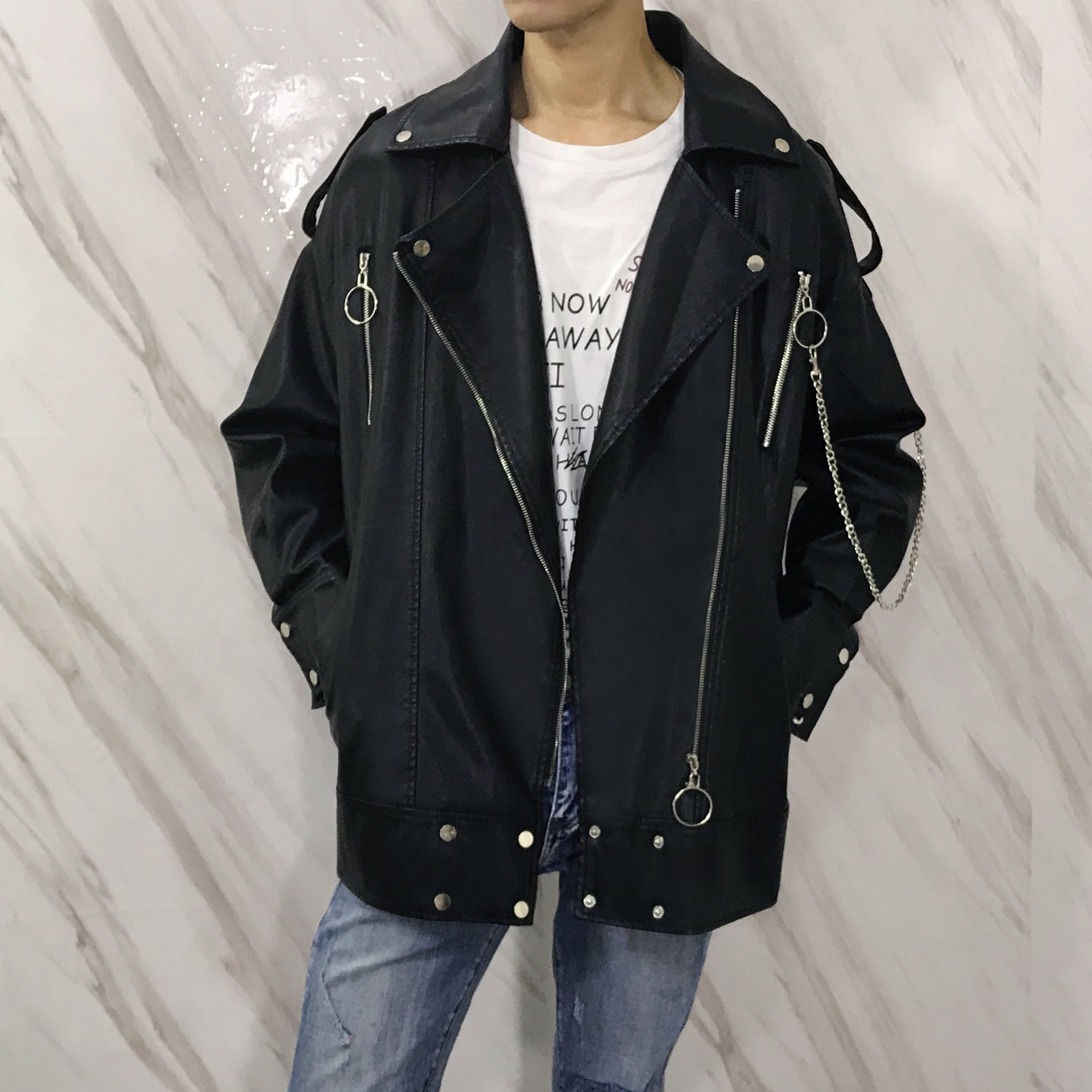 Spring new Korean fashion handsome locomotive leather coat medium length loose and slim large jacket young man