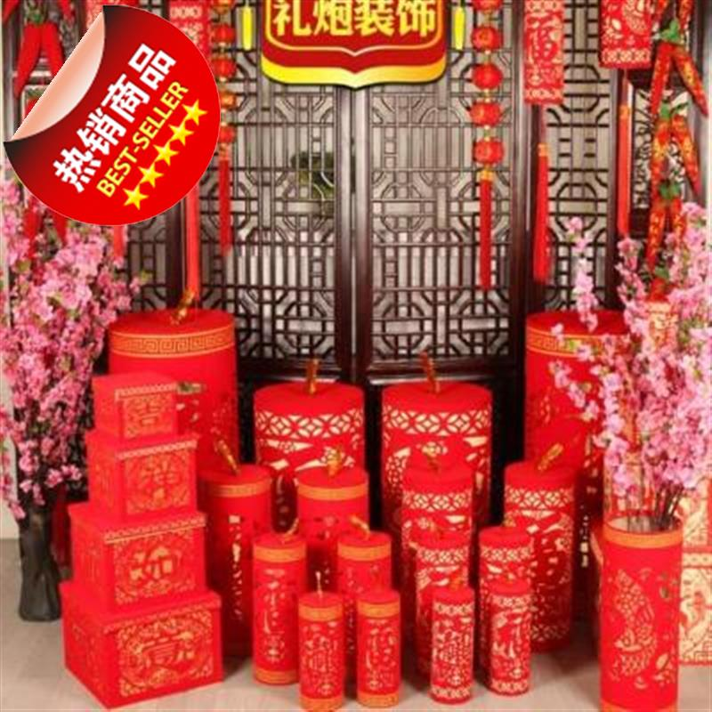 Spring festival decoration, new year living room, peach tree exhibition hall, firecrackers, peach blossom pile, c-head atmosphere in 2020