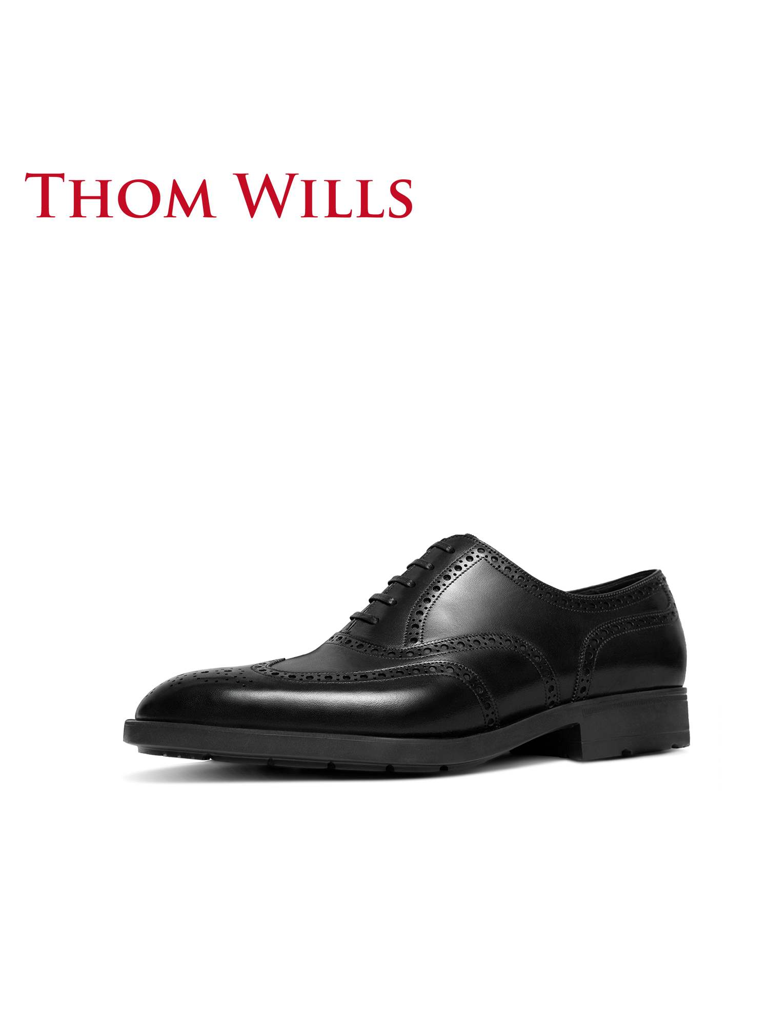 Genuine thomwills mens shoes casual leather shoes Brock handmade leather business suit soft sole British Oxford