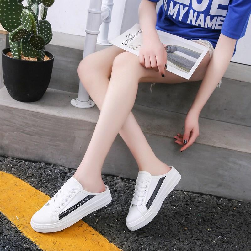 限时2件3折网红帆布女2019新款包头夏懒人鞋