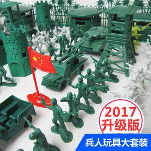 二战小兵人士兵军人模型塑料玩具军事套装战争场景绿色兵人仔套H'