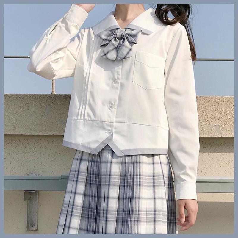 12-02新券樱花家族原创JK制服 jk衬衫 变形襟 jk白衬衫长袖女