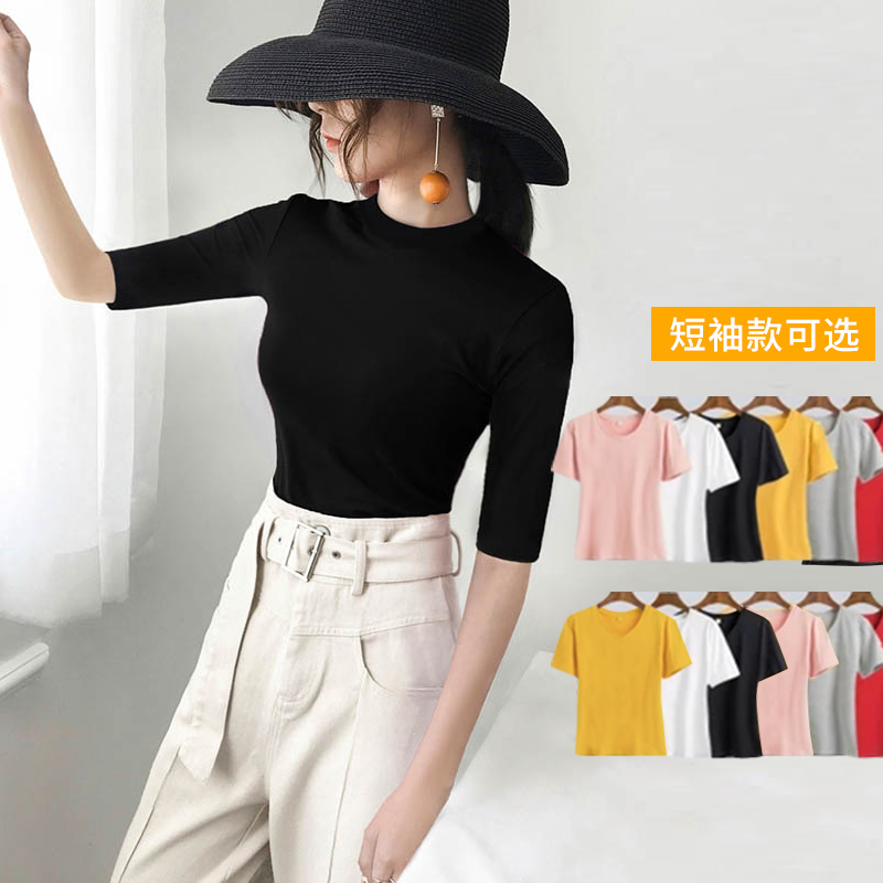 Pure cotton medium sleeve T-shirt women's black half high neck slim bottoming shirt 2020 new early spring 5-point sleeve tight top