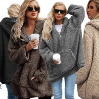 Winter dress pure color long Warm furry coat leisure sets lo