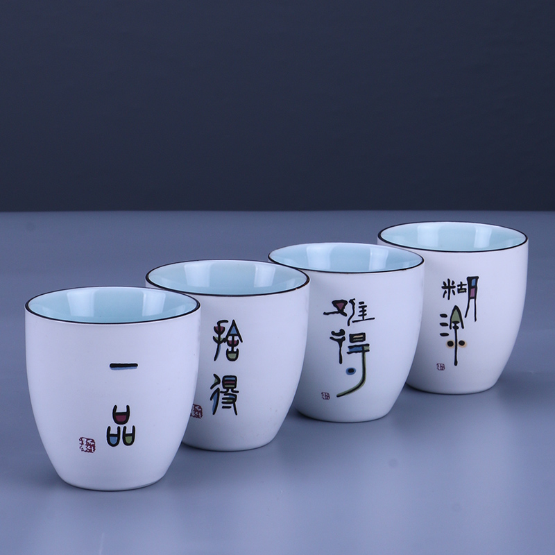 Dingyao Yaguang tea cup Master Cup Kung Fu tea set white porcelain tea cup ceramic household fat Zen personal single cup