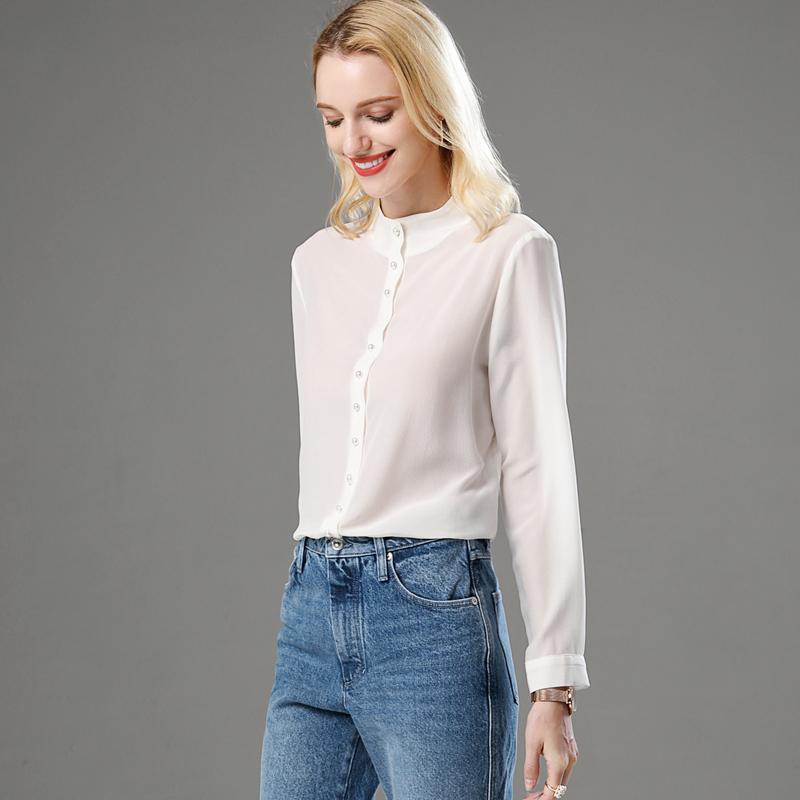 Spring 2020 new half high collar long sleeve shirt European white top heavyweight thick silk shirt