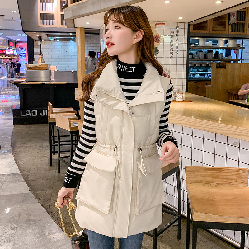 Autumn and winter new large pocket drawstring waist waistcoat womens middle and long slim and warm down cotton jacket jacket